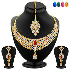 Sukkhi Gold Plated AD Necklace Set, Set of 5 Changeable Stone(2363NADA1040)