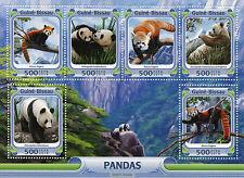 Guinea-Bissau 2016 MNH Pandas 6v M/S Wild Animals Red Panda Giant Panda Bear