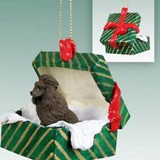 POODLE Chocolate Show Dog Green Gift Box Holiday Christmas ORNAMENT