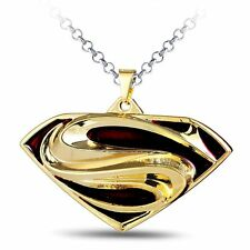 Super Hero Marvel Jewelry Collection Superman Metal Gold Pendant Necklace Men