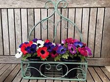 Vintage Verdigris Style Metal Wall Basket, Home Storage /Garden Wall Planter