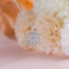 Alloy Rhinestone Crystal Snowflake Silver Plated Pendant Sweater Chain necklace