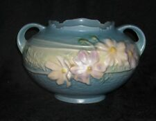Original Roseville COSMOS Dbl Handled Blue Rose Bowl, 375-4""