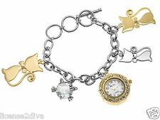 "CAT BRACELET WATCH! GENEVA! WHITE CRYSTAL WATCH! NEW! FREE SHIP! STAINLESS! 8""L."