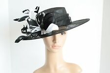 2015 Medium NEW Church Derby Wedding Easter Sinamay Black/White Dress hat CM65