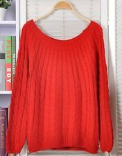 Vintage Women Girl Round Neck Twisted Knitted Sweater Pullover Jumper Cardigan