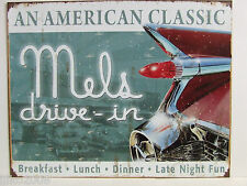 MEL'S DRIVE-IN/ 1959 CADILLAC , ANTIQUE-FINISH METAL WALL SIGN 40X30 CM/DINER