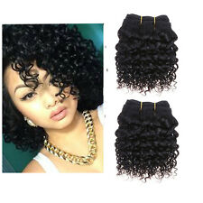 2 Bundles 8'' 7A Brazilian Kinky Curly Human hair Extensions Weft De 50g/pc 1B#