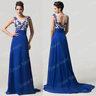 2015 NEW COMING Applique BLUE Evening Prom Wedding LONG Dress Formal Party Gowns