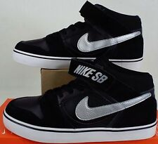 "RARE SAMPLE New Mens 9 NIKE SB ""Mogan Mid 2"" Black Silver Suede Shoes 703551-001"