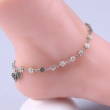 Iryaa Fashion Heart And Flower Charm Women's Anklet