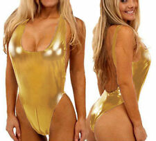Gold  Open Crotchless Backless Vinyl Leather Lingerie Bodysuit One S Regular