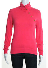 LILLY PULITZER Coral Cotton Long Sleeve Turtleneck Button Detailed Sweater Sz S