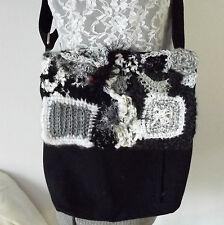 Freeform Crochet Embellished Purse, Messenger Kindle Bag, Black White, Notebook