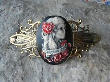 FOREVER LOVE SKELETON WOMAN HAND PAINTED CAMEO ANTIQUED BRONZE FILIGREE BARRETTE