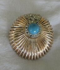 Antique Sterling Silver Gold Plate Striped Turquoise Rhinestone - Brooch Pin 23g