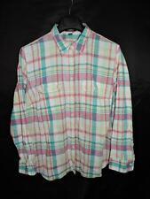 Chaps 2X Pink Green Plaid Shirt Linen Cotton Long Sleeve Button Woman 2XL
