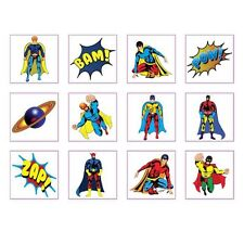 24 Super Hero Temporary Tattoos Kids Party Bag Fillers Loot Piñata stocking Boys