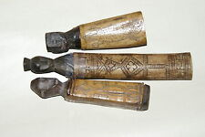 3 Tribal Betel Nut Habit Lime containers Hand etched Bone Wood Kalimantan BN27