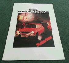 May 1978 SIMCA 1000 & 1100 SPECIALS Special Edition UK FOLDER BROCHURE