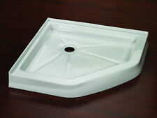 "FLEURCO 42"" x 42"" NEO ANGLE CORNER DRAIN ACRYLIC SHOWER BASE DOUBLE THRESHOLD"