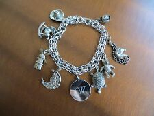 Vintage 60's Sterling Silver Charm Bracelet by Elco Enamel 9 Charms some movable