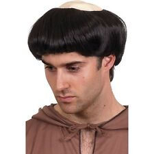 Mens Monk Wig Black Short Rubber Top Friar Tuck Fancy Dress Costume Bowl Cut Fun
