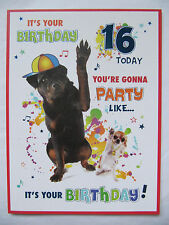 COLOURFUL YOURE GONNA PARTY LIKE ITS YOUR BIRTHDAY 16TH BIRTHDAY GREETING CARD