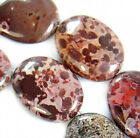 """15x20mm Natural Japanese Artistic Stone Flat Oval Beads 15.5"""""""