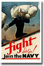 FIGHT - Let's Go! Join the Navy - Vintage Print POSTER