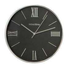 Modern Hometime Silent Wall Clock - Black Dial - Chrome Trim