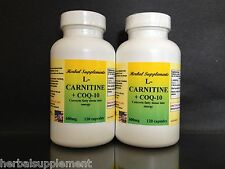 L-Carnitine 600mg + Coq-10, Amino Acid, energy,Made in US ~ 240 (2x120)capsules
