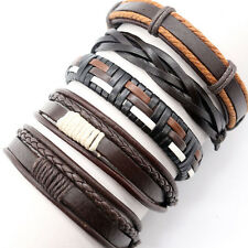 5pcs Brown Leather Bracelet Mens Womens Wrap Bangles Braided Rope Wristband P39