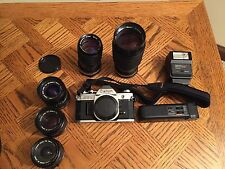 Canon AE1 Camera, 5 lenses, flash, autowinder and case