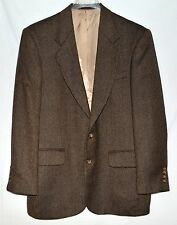 Oscar De La Renta Brown & Black Herringbone Wool Mens Blazer Sport Coat Sz 40R