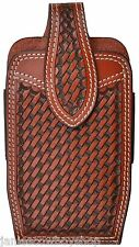 3D LEATHER WESTERN BASKETWEAVE 3 1/2X6 3/4 INCH SMART PHONES   MAGNATIC CONCHO
