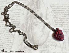 collana in bronzo cuore anatomico creato a mano steampunk heart idea regalo