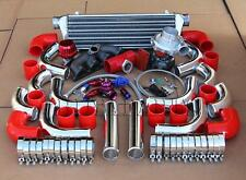 T3T4 TURBO+MANIFOLD+POLISHED INTERCOOLER+RED COUPLER KIT FOR D15 D16 HONDA CIVIC