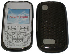 For Nokia Asha 201 / 2010 Pattern Gel Case Cover Protector Pouch Black New UK