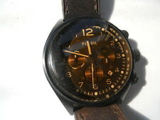 Fossil chronograph mens brown leather band.quartz & battery dress watch.Ch-2782