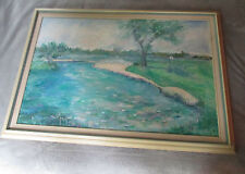 "Framed Oil Painting of Golf Course Entitled ""Sunday Afternoon"" Signed by Weibel"