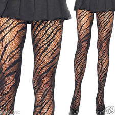 Women's Black Animal Print Striped Fishnet Diamond Net Pantyhose Stockings OS US