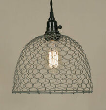 Country gray CHICKEN WIRED hang light / PLUG IN LIGHT