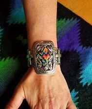Cowgirl Gypsy Bling Serape CROSS Western Cuff Bracelet turquoise Southwest