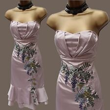 EXQUISITE KAREN MILLEN CHAMPAGNE WISTERIA EMBROIDERED SILK COCKTAIL DRESS 12 UK