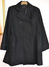 BETTY JACKSON BLACK WOOL MIX  Lined Coat Size 14