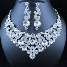 PRETTY CLEAR AUSTRIAN RHINESTONE CRYSTAL NECKLACE EARRINGS SET BRIDAL WED N1892
