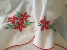 Vint Cotton Embroiled Country Christmas Detailed Linen Table Cover Tablecloth