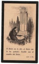 ANTIQUE HOLY CARD MOURNING 1945 LADY PRAYING IN THE TOMB