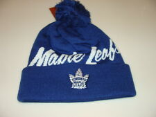 Toronto Maple Leafs Hockey Cap Hat Beanie Pom Toque Mitchell Ness Double Up NHL